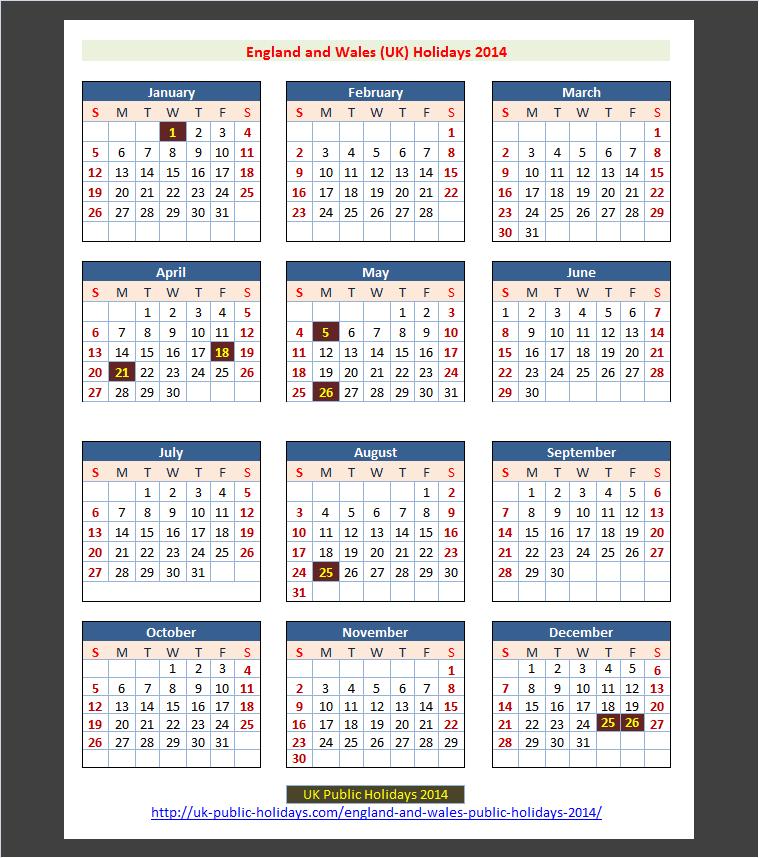England and Wales (UK) Public Holidays 2014 – UK Holidays