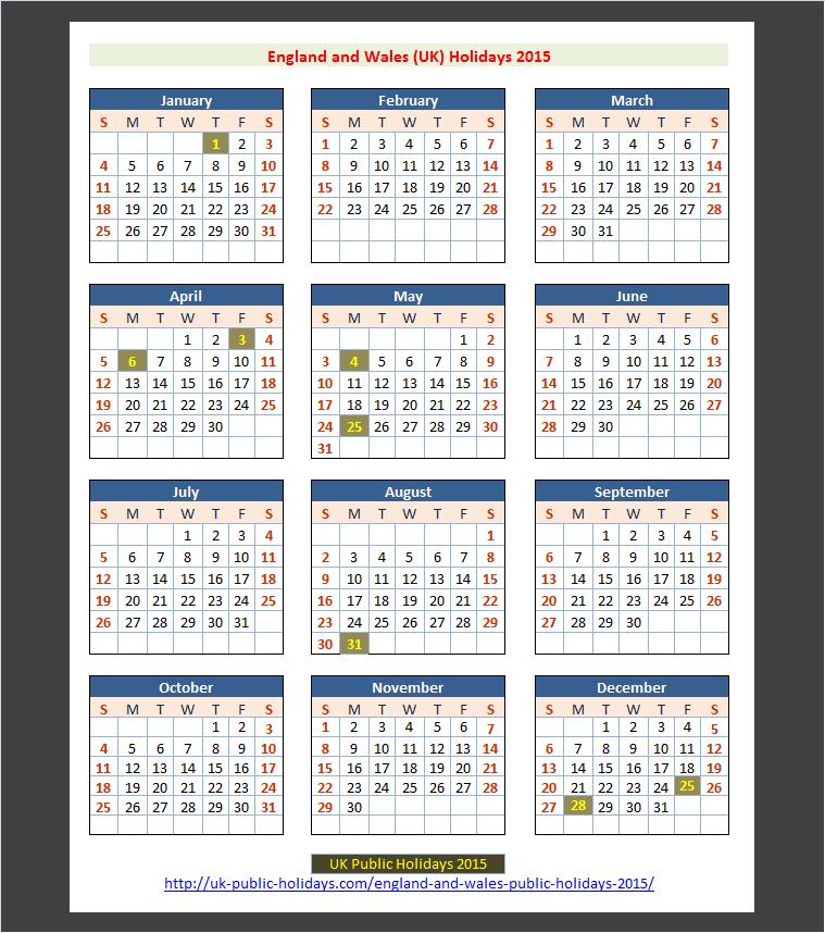 England and Wales (UK) Public Holidays 2015 – UK Holidays