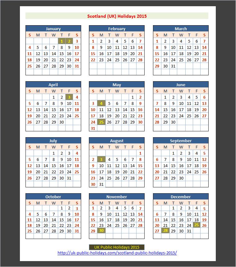 Scotland (UK) Public Holidays 2015 – UK Holidays